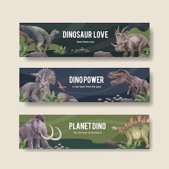 Modello di banner con il concetto di dinosauro, stile acquerello