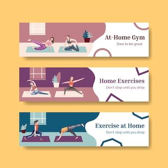 Modello di banner con concetto di esercizio a casa, stile acquerello