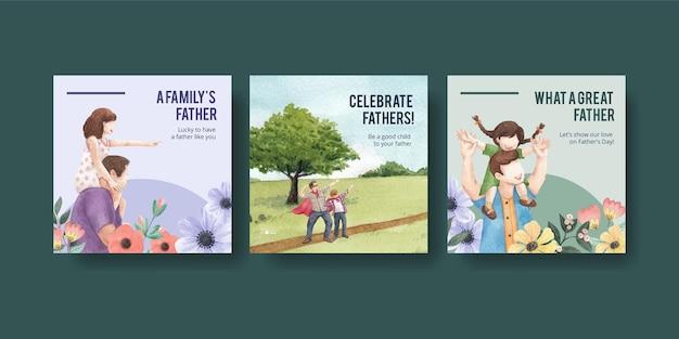 Modello di banner con il concetto di festa del papà, stile acquerello