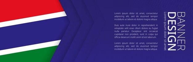 Modello di banner con bandiera del gambia per viaggi pubblicitari, affari e altro. progettazione di banner web orizzontale.