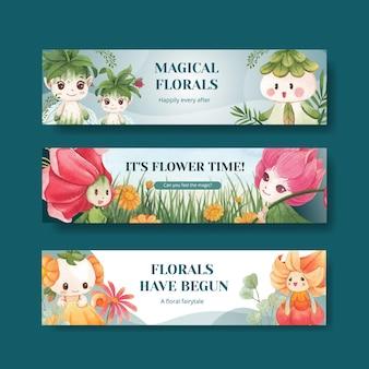 Modello di banner con illustrazione dell'acquerello di concetto di carattere floreale