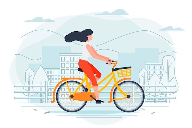Modello di banner con ragazza su una bicicletta