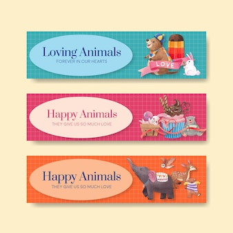 Modello della bandiera con illustrazione dell'acquerello di concetto di animali felici