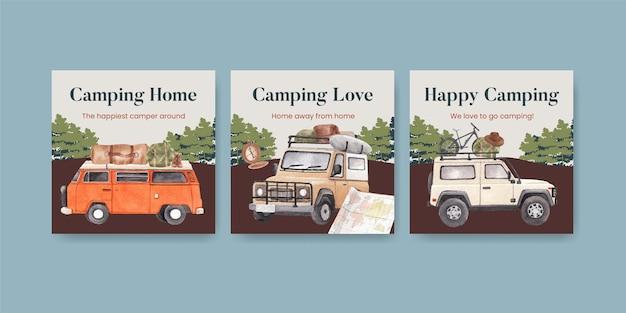 Modello di banner con concetto di camper felice