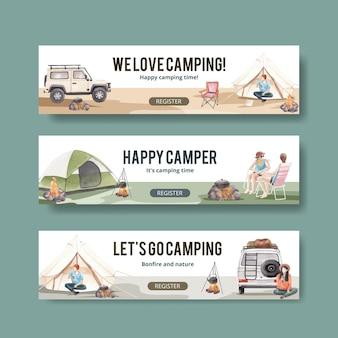 Modello di banner con concetto di camper felice Vettore Premium