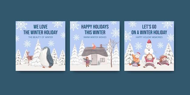 Modello di banner con felice inverno in stile acquerello