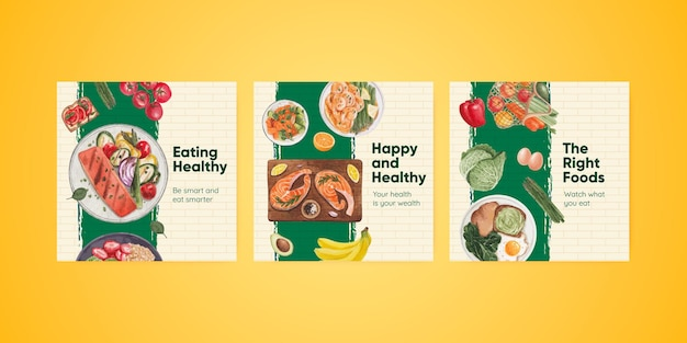 Modello di banner con concetto di cibo sano,stile acquerello
