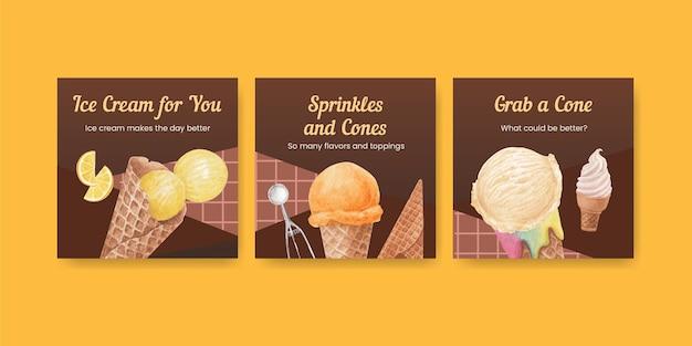 Modello di banner con concetto di sapore di gelato,stile acquerello