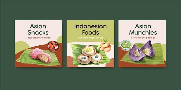 Modello di banner con spuntino indonesiano
