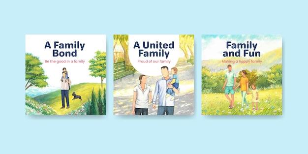 Modello di banner con il concetto di giornata internazionale delle famiglie