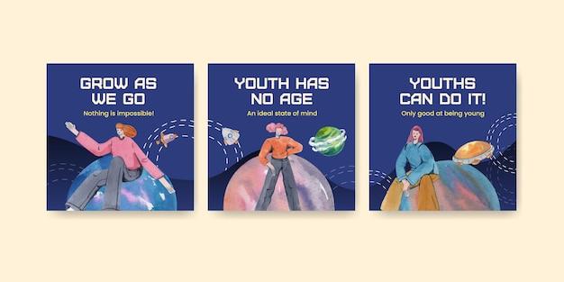 Modello di banner con la giornata internazionale della gioventù in stile acquerello