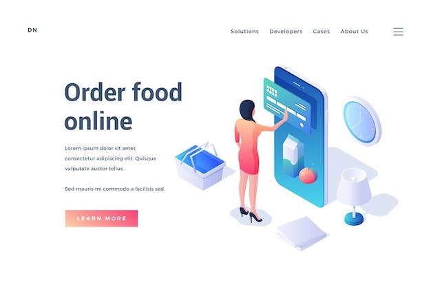 Modello di banner con personaggio femminile isometrico utilizzando smartphone e carta di credito per ordinare cibo online su sfondo bianco