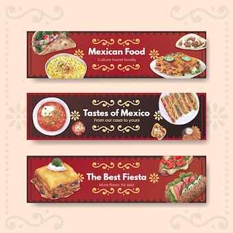 Modello dell'insegna con l'illustrazione dell'acquerello di progettazione di concetto di cucina messicana