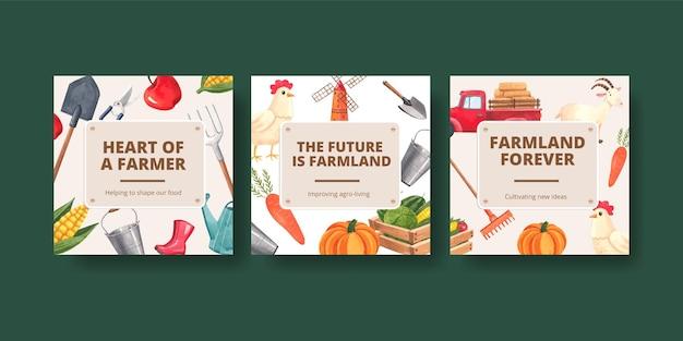 Modello di banner con il concetto di giornata nazionale degli agricoltori, stile acquerello