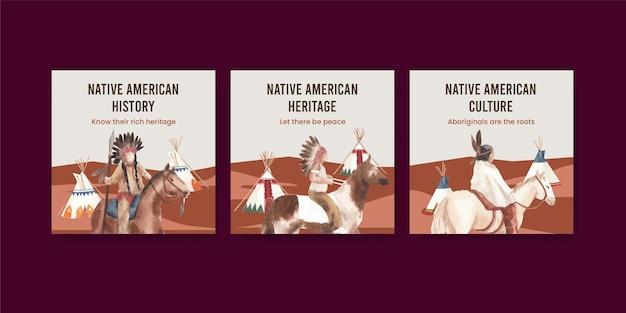 Modello di banner con nativi americani in stile acquerello
