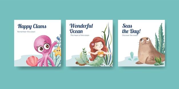Modello di pagina di intestazione con concetto di oceano felice, stile acquerello