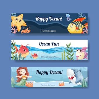 Modello di banner con il concetto di oceano felice stile acquerello