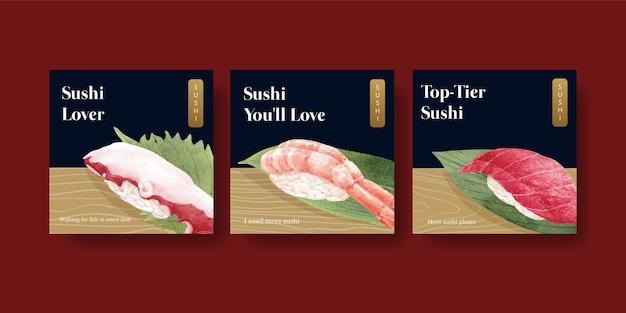 Modello di banner con concetto di sushi premium, stile acquerello