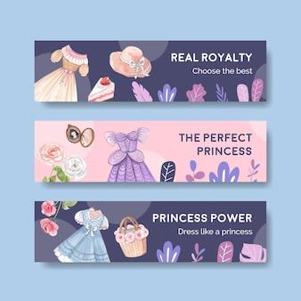 Modello di banner con abito da principessa, stile acquerello