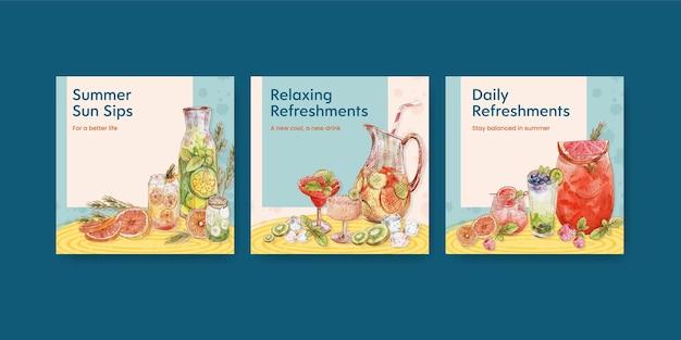 Modello di banner con concetto di bevande rinfrescanti,stile acquerello
