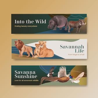 Modello dell'insegna con l'illustrazione dell'acquerello di concetto della fauna selvatica della savana