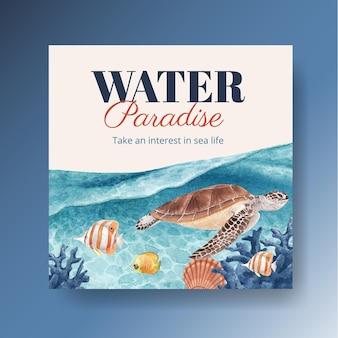 Modello di banner con illustrazione dell'acquerello di disegno di concetto di vita di mare
