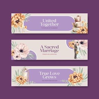 Modello di banner con concept design di cerimonia di nozze per pubblicizzare l'illustrazione dell'acquerello