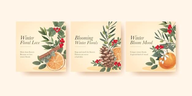 Modello di banner con concetto floreale invernale,stile acquerello