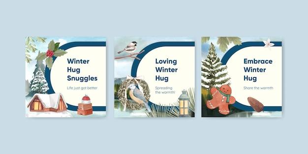 Modello di banner con abbraccio invernale in stile acquerello