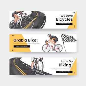 Modello di banner con il concetto di giornata mondiale della bicicletta, stile acquerello