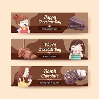 Modello di banner con il concetto di giornata mondiale del cioccolato