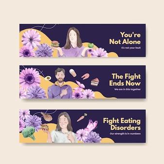 Modello di banner giornata mondiale d'azione sui disturbi alimentari in stile acquerello