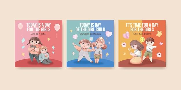 Modelli di banner impostati per la giornata internazionale della bambina in stile acquerello