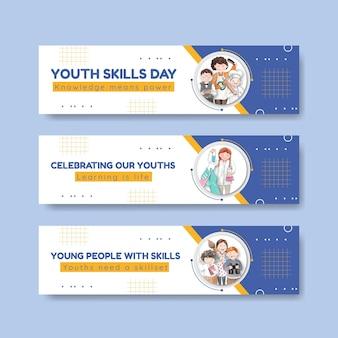 Modelli di banner impostati con il concetto di giornata mondiale delle abilità della gioventù, stile acquerello