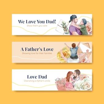 Modelli di banner con il concetto di festa del papà in stile acquerello