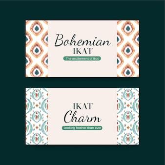 Modelli di banner con il concetto di ikat in stile acquerello