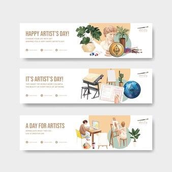 Modelli di banner con la giornata internazionale degli artisti in stile acquerello