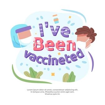 Banner testo illustrazione sono stato vaccinato Vettore Premium