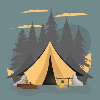 Banner sul tema del campeggio nella foresta