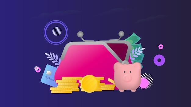 Banner sul tema della finanza. grande portafoglio, carta di credito, monete d'oro, dollari.
