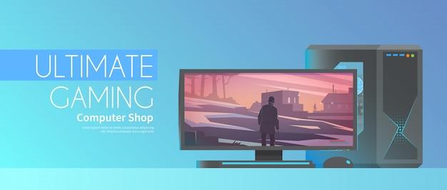 Banner sul tema: computer di gioco. Vettore Premium