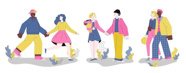 Banner per san valentino con illustrazione di cartone animato di coppie