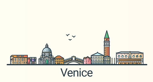 Banner della città di venezia in stile alla moda linea piatta. arte di linea della città di venezia. tutti gli edifici separati e personalizzabili.