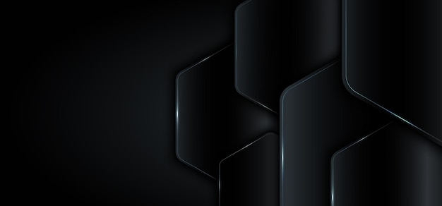 Banner web modello geometrico nero metallico con concetto di tecnologia della luce blu.