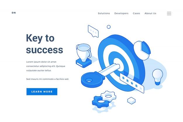 Banner per la pubblicità del sito web chiave del successo