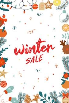 Banner vendita invernale con illustrazioni di natale disegnati a mano