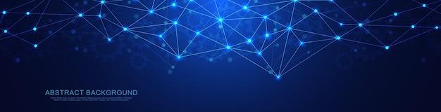 Banner con linee e punti geometrici e di collegamento astratti. connessione di rete globale. tecnologia digitale