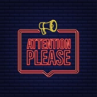 Banner con attenzione per favore rosso attenzione per favore firma icona al neon segnale di pericolo esclamativo