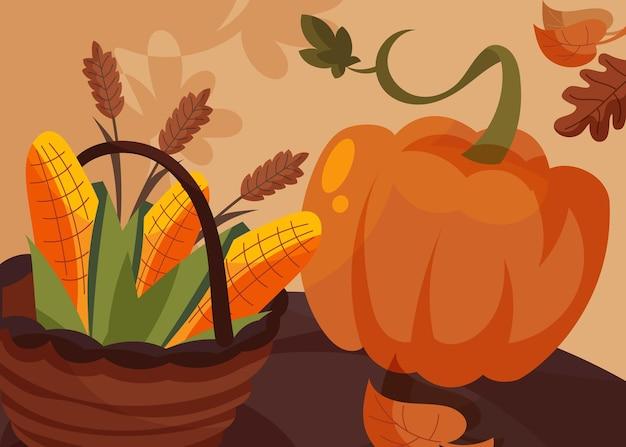 Banner con cesto di mais e zucca. disegno della cartolina del giorno del ringraziamento in stile cartone animato.