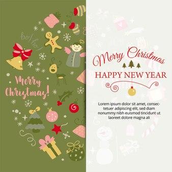 Banner con elementi di design natalizio in stile scarabocchio cartolina di natale calligrafico logotipo vettoriale